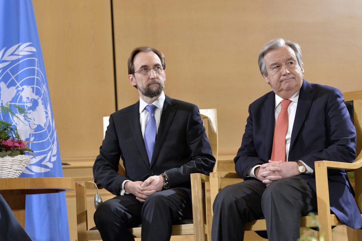 Zeid Ra'ad Zeid Al Hussein ( left ) United Nations High Commissioner for Human Rights Antonio Guterres ( right ) United Nations High Commissioner for Refugees during Sergio Vieira de Mello Debate. 12 March 2015. UN Photo / Jean-Marc Ferré