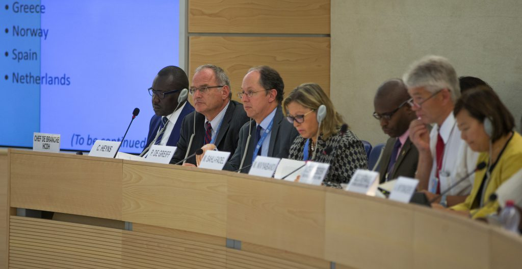 "The report of the UN Independent Investigation on highlights the increasingly dire human rights situation in Burundi.  ""We call on all sides to put an end to human rights violations and abuses,"" said U.S. Ambassador Keith Harper, after the presentation of the report to the Human Rights Council September 27 by independent experts: Mr. Pablo de Greiff, Mr. Christof Heyns, Ms. Maya Sahli-Fadel.  ""We firmly believe that this crisis can and must be resolved, or Burundi risks descending into further conflict, including the possibility of mass atrocities."" Read the full text of Ambassador Harper's statement: https://geneva.usmission.gov/2016/09/27/burundi/   U.S. Mission Photo/Eric Bridiers"