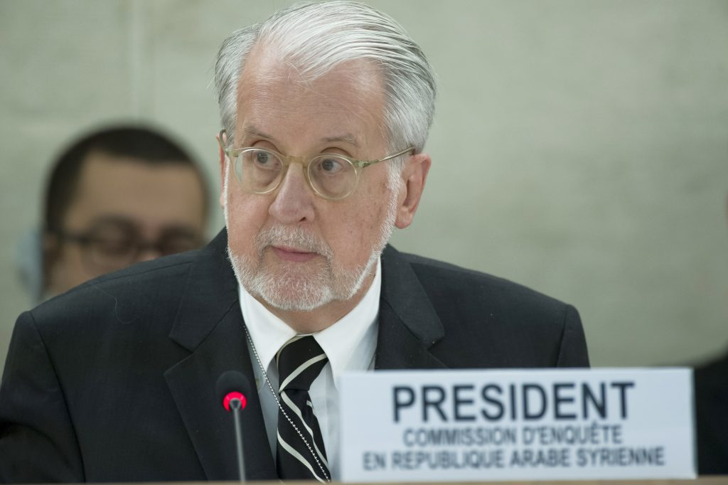 Paulo Pinheiro, Chairperson of the Commission of Inquiry on the Syrian Arab Republic during of Special Session on the deterioration of the human rights situation in Aleppo of Syria of the Human Right Council. 21 october 2016. UN Photo / Jean-Marc Ferré