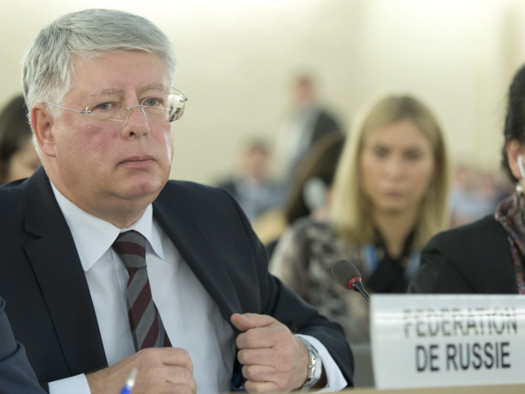 Alexey Borodavkin, Permanent Representative of Russian Federation to the United Nations Office at Geneva during of Special Session on the deterioration of the human rights situation in Aleppo of Syria of the Human Right Council. 21 october 2016. UN Photo / Jean-Marc Ferré