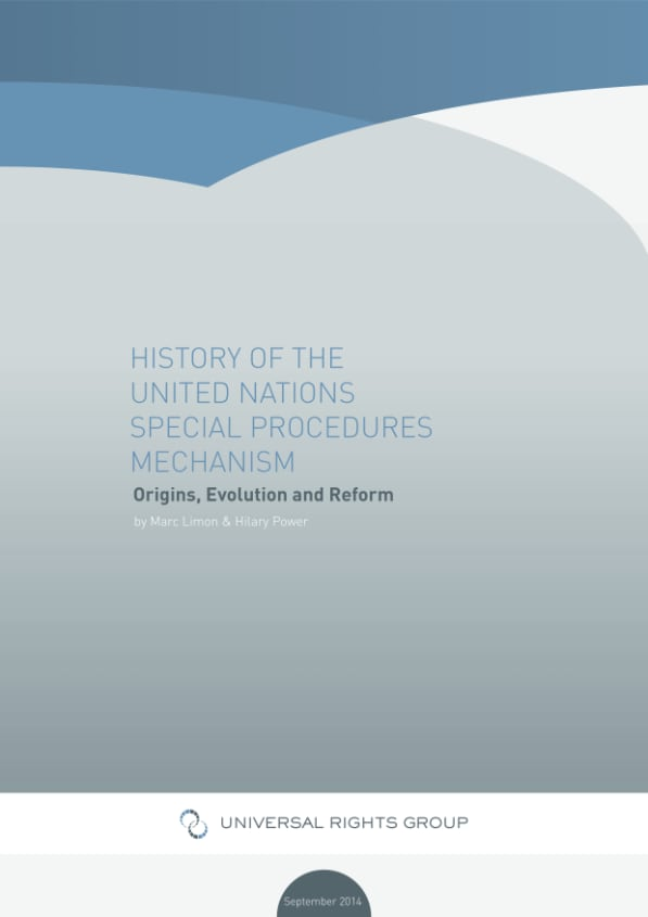 History of the United Nations Special Procedures Mechanism: Origins, Evolution and Reform