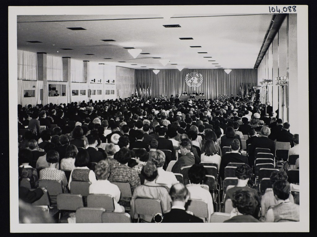 A picture from the session of the First World Conference on Human Rights held in 1968 organised upon a Jamaican initiative.